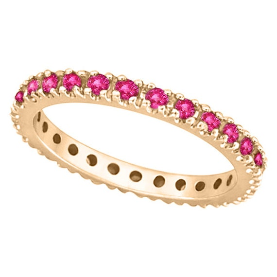 Pink Sapphire Eternity Ring Stackable Band 14k Rose by Allurez