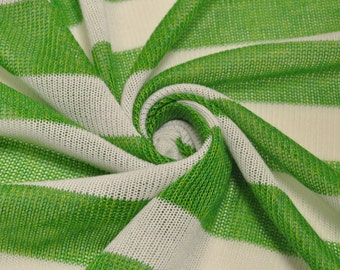 Green and White Stripes Sweater Knit Fabric- 1 Yard Style 6109