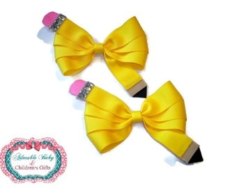 Back to School!!! Pencil Pig Tail Bows