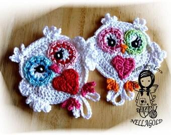 Crochet PATTERN, Applique Owl Be my Valentine, Application, Heart, DIY Pattern 29