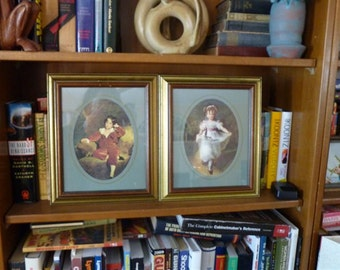 Set of two vintage framed prints, Victorian Children, Boy and Girl, Great Condition