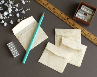 "Tiny Mulberry Paper Envelopes - Natural colour (Set of 20) - Size: 2 1/2"" x 3"""