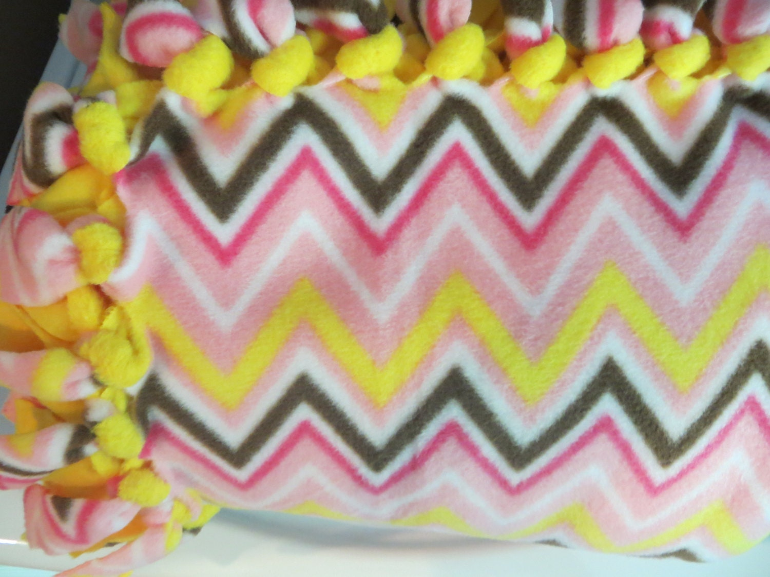 Chevron Fleece Blanket No Sew Hand Tied Double