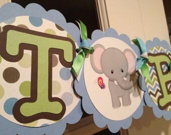 Blue, Green, Brown Jungle Animals Shower/Birthday Banner