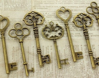 12 Large Skeleton Key Collection Antiqued Brass Double Sided