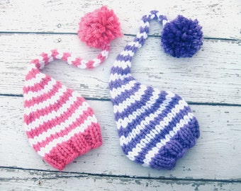 Purple Or Pink and White Gnome Elf Baby Hat Size Newborn  Knitted Baby Hat  Photo Prop Twins
