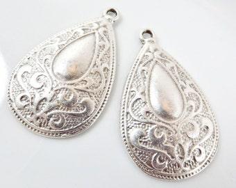 2 Gypsy Paisley Teardrop Pendants - Matte Silver plated