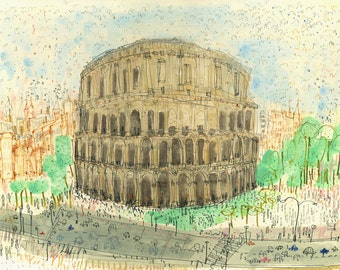 COLOSSEUM ROME ART, Rome Watercolour, Signed Limited Edition Rome Print Italy, Rome Painting, Colosseum Watercolor Drawing, Rome Fine Art