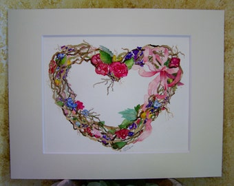 Original Watercolor Painting, Grapevine Heart Wreath with Flowers, Wall Art