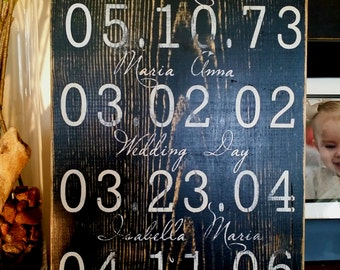 Important dates, our first date, Our love Story, Custom Wood Sign, I do What a Difference a day makes. Mothers Day Gift, Family Sign