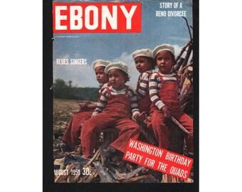 Sale, Vintage Magazine Cover, Ebony, August, 1950 ,  (The Fultz quadruplets) 060