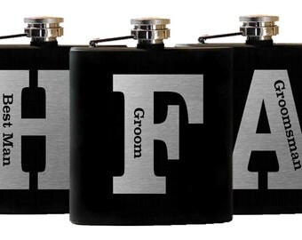 Flask Gifts, Personalized Wedding Party Favors, Groomsmen Flasks, Custom Engraved, Set of 2 Flasks