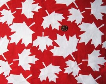 Canada Maple Leaves Fabric print / bigger white leaves - ( FQ )   x 1