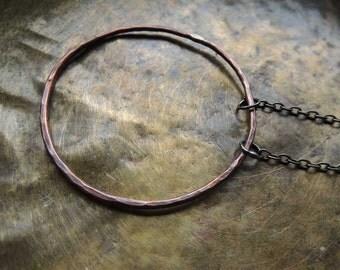 bohemian necklace, boho necklace, copper necklace, circle copper necklace,  large circle, round, necklace circular, necklace
