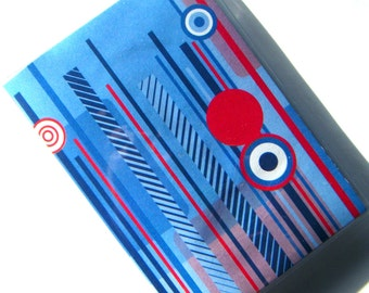 Passport Holder Cover Case -- Blue and Red Stripes and Circles
