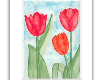 ORIGINAL   Abstract Watercolor  Painting   Red  Tulips  Contemporary  Art   Modern  Flowers by Tanja Bell
