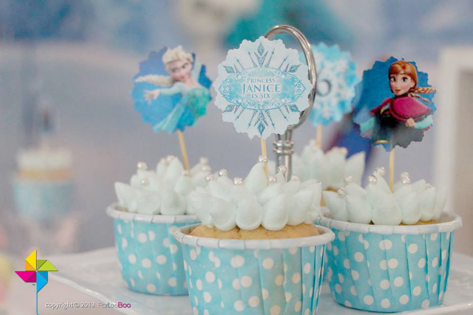 Customized party cupcake toppers frozen theme x 24 by parteeboo