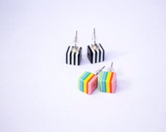 Striped Cubes - Striped Cube Black&White Rainbow Stud Earrings