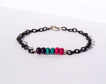 GPP - Green Pink Purple Wood Beads Black Metal Chain Bracelet