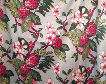 Vintage 40s Satin Fuschia Tropical Floral Rayon Curtain, Cottage Chic, Retro Floral