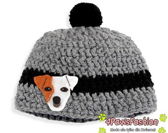 Handmade Jack Russell Terrier crotched hat with pom pom JRT winter accessory / 4PawsFashion