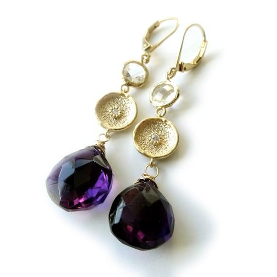 Amethyst Earrings, Amethyst, Wire Wrapped, Gold Filled Wire, Gemstone Jewelry, February Birthstone, Landon Lacey, Dangle Earrings