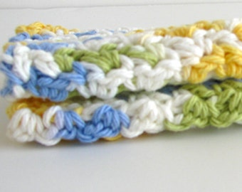 Blue and Yellow Crochet Wash Cloths 100% Cotton for Bath or Kitchen