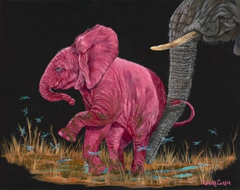 "Move Along 5"" x 7"" Print - 8"" x 10"" with matting. Pink Elephants"