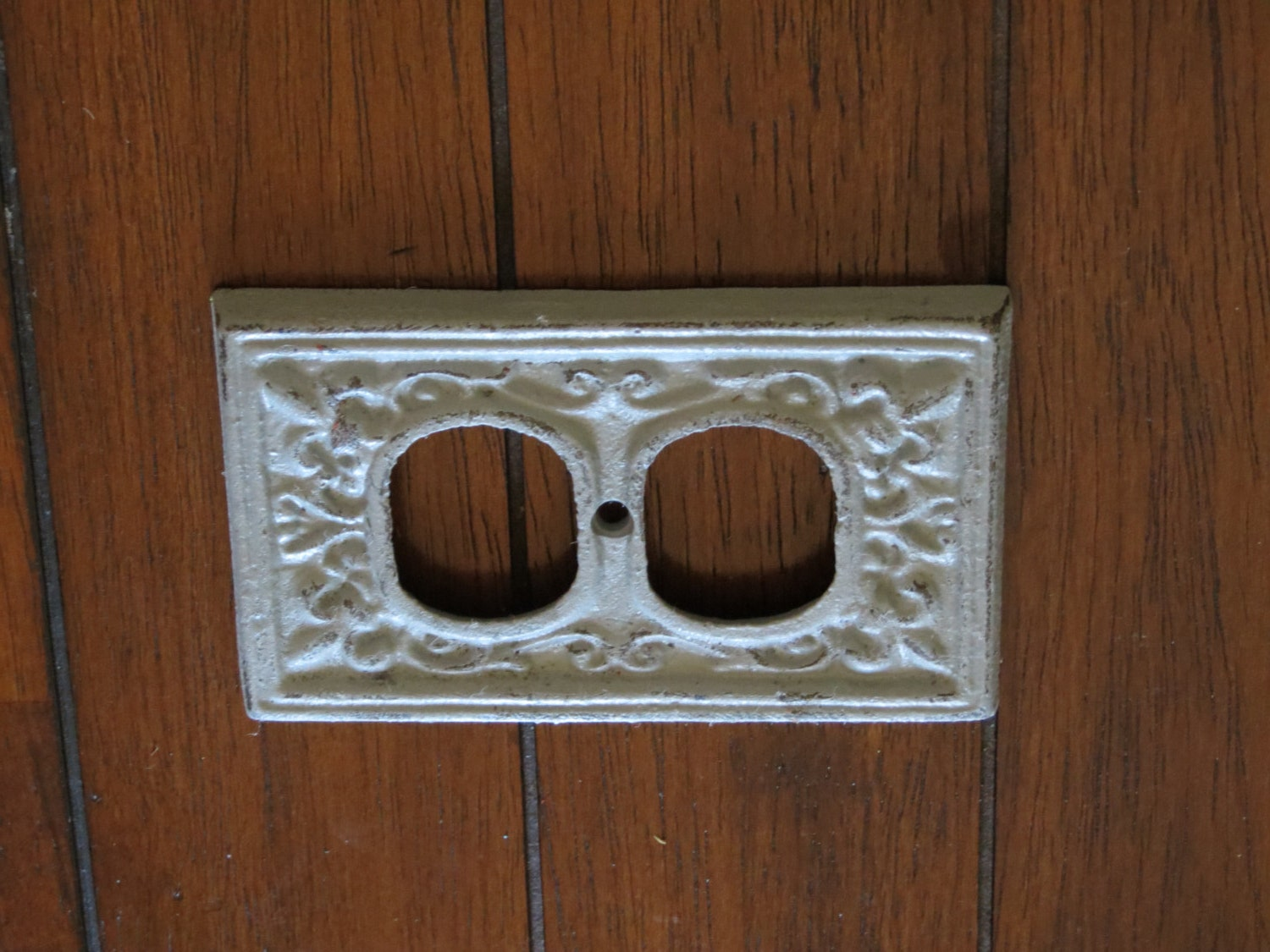 Light grey decorative electrical outlet plate by veritasinspired - Decorative wall plates electrical ...