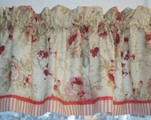 """Magnolia Red Pink Salmon Beige Roses Toile Valance 17"""" x 55""""  Drapery Weight  Curtain Can Alter"""
