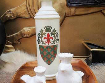 Vintage 1960s Decanter Fleur de Lis Coat of Arms White Glass