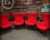 Vintage Mid Century Modern Set of 4 Red Arne Jacobsen Style Egg Chairs