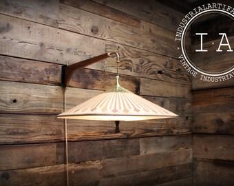 Mid Century Modern Hanging Wooden Swing Arm Light Fixture