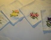 Embroidered Napkins set of 4 cream floral napkins