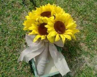 Sunflower Bouquet, Yellow Sunflower Bridal Bouquet, Sunflower Wedding Bouquet, Sunflower Burlap Bouquet, Rustic Bouquet, Rustic Wedding