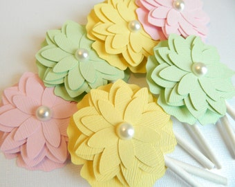 Easter Flower Cupcake Toppers Baby Shower Cupcake Topper Bridal Shower Cupcake Topper Flower Cupcake Topper Easter Decorations • Set 0f 12