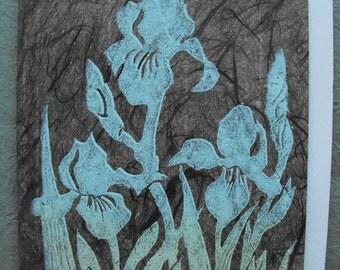 Quality handmade greeting card, linocut relief print on Vintage Japanese paper, block print, art card, Iris, Botanical, spring flower
