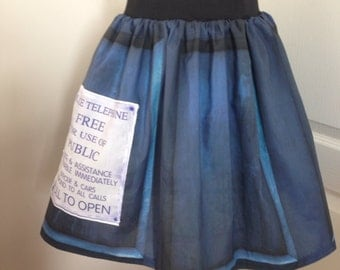 Doctor Who TARDIS inspired skirt