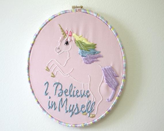 Items similar to unicorn hand embroidery custom pastel