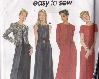 Simplicity 8414 CLEARANCE Vintage Pattern Womens Mid Calf Dress in 2 Variations and Jacket Size 8,10,12 UNCUT