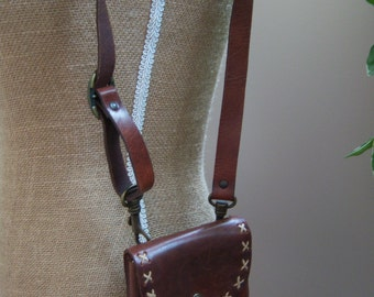 Little Brown Dalmys Purse. Hard leather handbag. Kids/Women handbag.