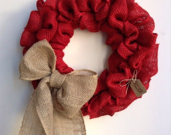 Red Burlap Wreath, Christmas Wreath, Burlap Valentines Wreath,  Bubble Wreath, Red Wreath, Rustic Wreath, Everyday Wreath, Valentines Wreath