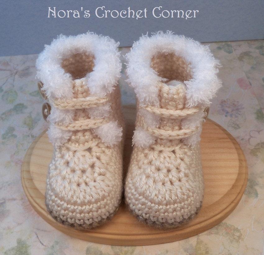 Crochet Fur Trim Baby Boots Shoes 228