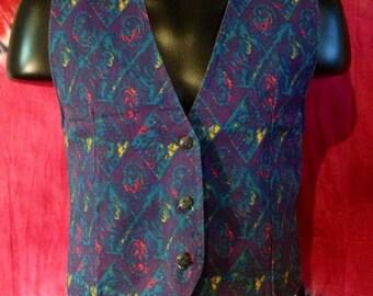 Men's vintage denim pattern vest