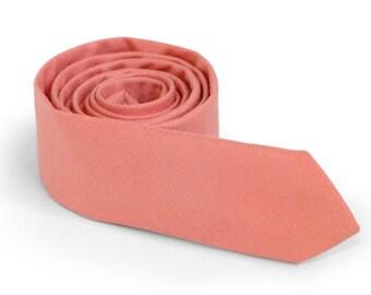 Peach Pink  Tie  Men's skinny tie  Wedding Ties  Necktie for Men FREE GIFT