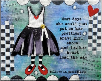 Inspirational Mixed Media Magnet, Brave Girl Shoes