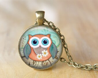Owl Pendant Necklace Owl Jewelry Art Photo Print Pendant Gift For Her (063)