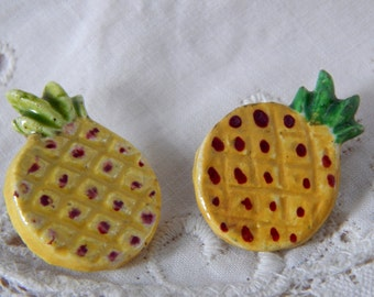 Handmade Ceramic Pineapple Buttons - 2