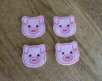 Pig faces, set of 4, Felties