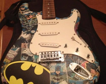 Custom Created Comic Book Guitars, Batman Bass